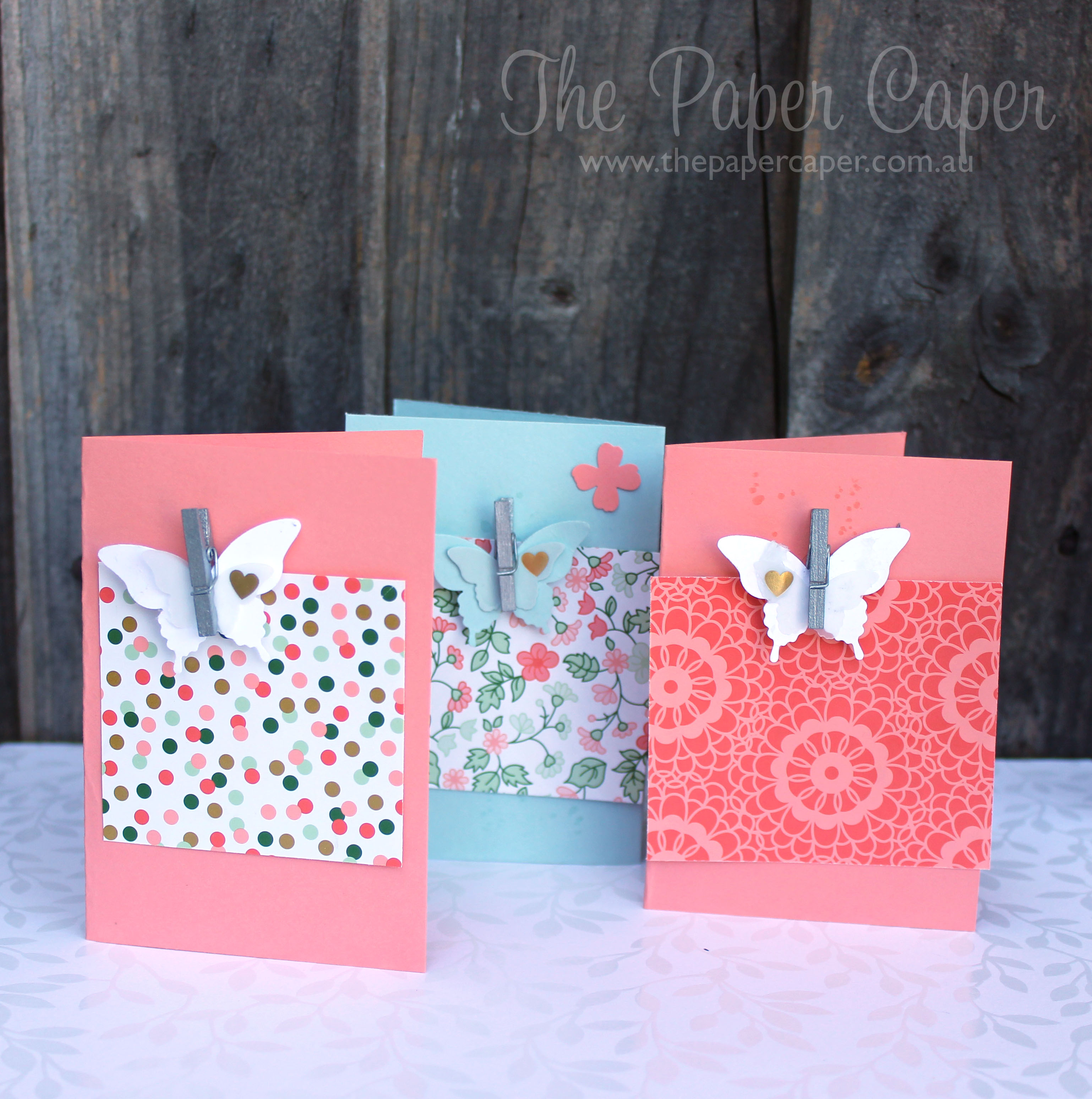 Butterfly notecards for CASEing the Catty Challenges. Details @ www.thepapercaper.com.au. Stampin' Up! Supplies: Crisp Cantaloupe, Pistachio Pudding, Elegant Butterfly punch, Small Butterfly punch, Metallic mini clothespeg, Gold Soiree DSP, Sweet Sadie washi.