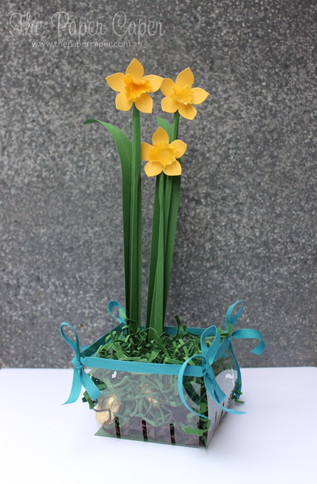 Individual faux-garden Easter egg hunt for CASEing the Catty Challenges. Details @ www.thepapercaper.com.au. Stampin' Up! supplies: Berry Basket Bigz Die, Window Sheets, Island Indigo cotton ribbon, Flower Fair framelits, Filter paper and cardstock for daffodils...