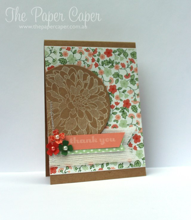 A Friendly Challenge. Details @ www.thepapercaper.com.au. Stampin' Up! Supplies: Kraft, Gold Soiree Specialty DSP, Regarding Dahlias stamp set, White Jute Ribbon, Sweet Sadie Washi, Crisp Cantaloupe...