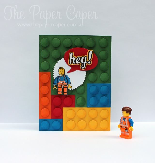 hey! Lego card with hand carved lego stamp. Details @ www.thepapercaper.com.au. Stampin' Up! supplies: Garden Gree, Daffodil Delight, Real Red, Tangelo Twist & Pacific Point cardstock/ink. Undefined stamp carving kit, Hi There stamp set...