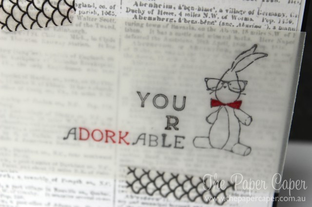you are aDORKable bunny card. Retiring list blog hop. Details@ www.thepapercaper.com.au. Stampin' Up! supplies: Baby We've Grown stamp set, Make Note Rotary stamp, Dictionary background stamp, Hip Notes stamp set, Sweet Sadie washi tape...
