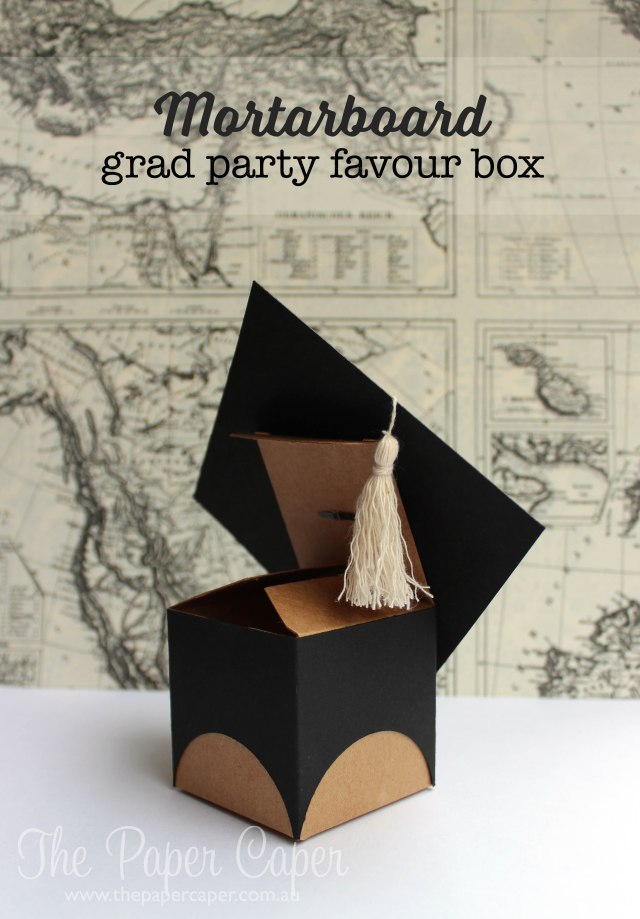 Mortarboard grad party favor box for CASEing the Catty and #TGIF03. Details @ www.thepapercaper.com.au. Stampin' Up! supplies: Basic Black cardstock, tiny treat box, Antique brads, black embossing power & baker's twine