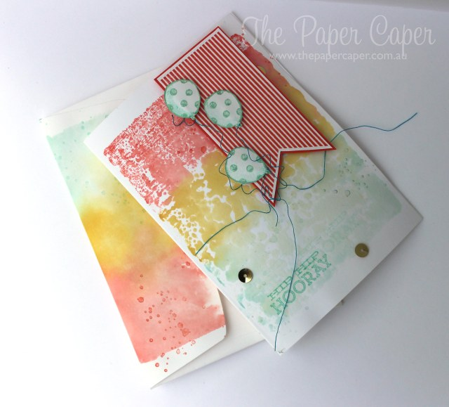 Faux watercolour fun for #tgifc01. Details @ www.thepapercaper.com.au. Stampin' Up! supplies: Calypso Coral, Pool Party, Crushed Curry ink, Amazing Birthday and Sketched Birthday stamp sets, Hip Notes...