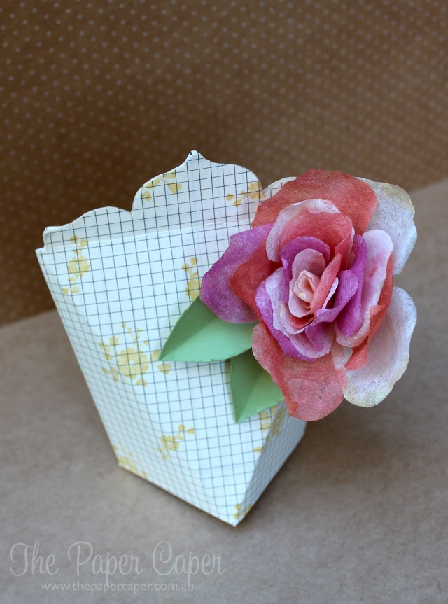 Filter paper rose and box for #TGIFC04. Details @ www.thepapercaper.com.au. Stampin' Up! supplies: Filter Paper, Typeset DSP, A WHole Lot of Lovely stamp set, Blushing Bride, Calypso Coral, Blackberry Bliss and So Saffron inks...