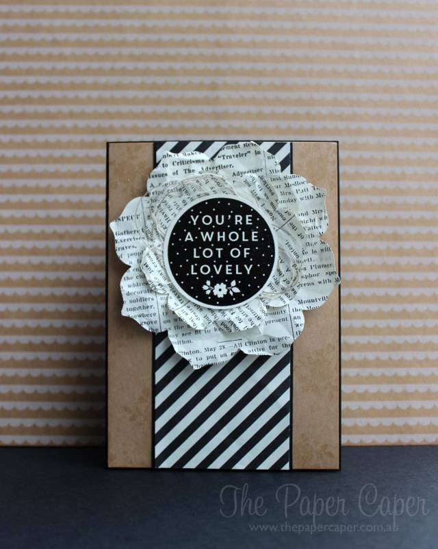 "Whole Lot of Lovely for #TGIFC02. Details @ www.thepapercaper.com.au. Stampin' Up! supplies: A Whole Lot of Lovely hostess set, Typeset DSP, Kraft 12""x12"", Black embossing power..."