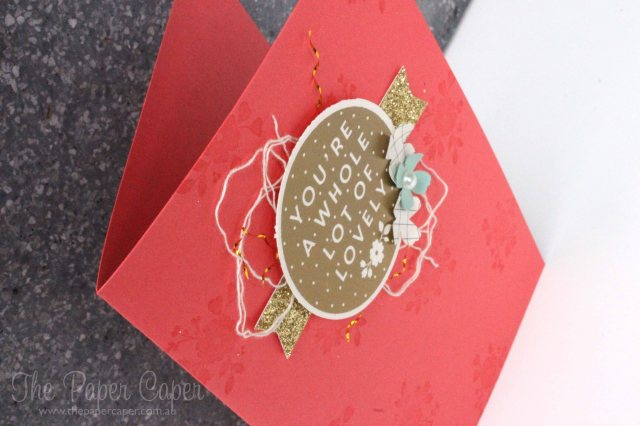 A Whole Lot of Lovely sneak peek swap. Details @ www.thepapercaper.com.au. Stampin' Up! supplies: Watermelon Wonder cardstock, A Whole Lot of Lovely stamp set, Gold Glimmer Paper, Itty Bitty Accents punch pack...
