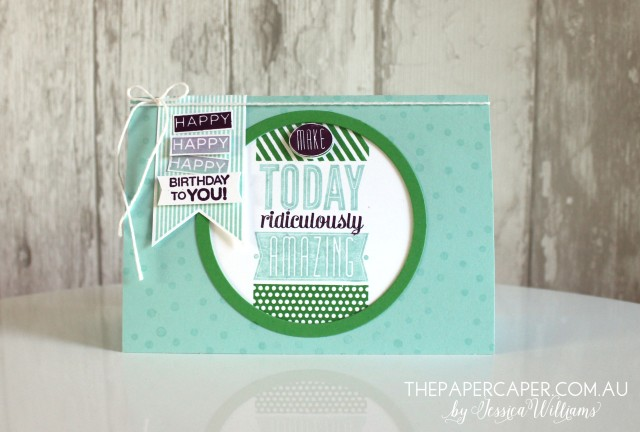 Amazing Birthday for CASEing the Catty. Details @ www.thepapercaper.com.au. Stampin' Up! supplies: Amazing Birthday stamp set, Cucumber Crush, Pool Party & Blackberry Bliss inks and cardstock...