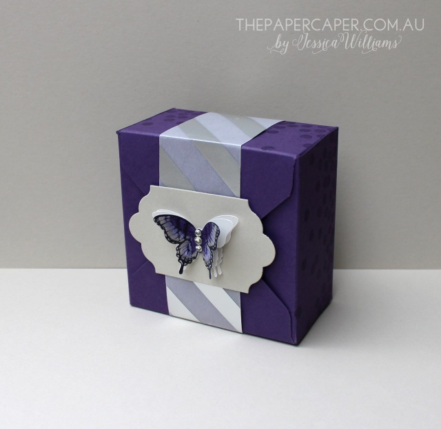 Amanda's Gift Box. Workshop make & take. Details @ www.thepapercaper.com.au. Stampin' Up! supplies: Envelope Punch Board, Elegant Eggplant & Sahara Sand cardstock, Papillon Potpourri stamp set, Elegant Butterfly punch...
