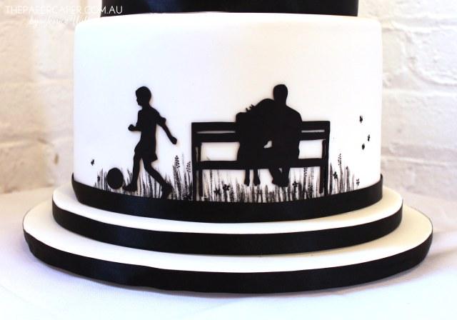 Silhouette wedding cake for Christie & Nathan. Details @ www.thepapercaper.com.au