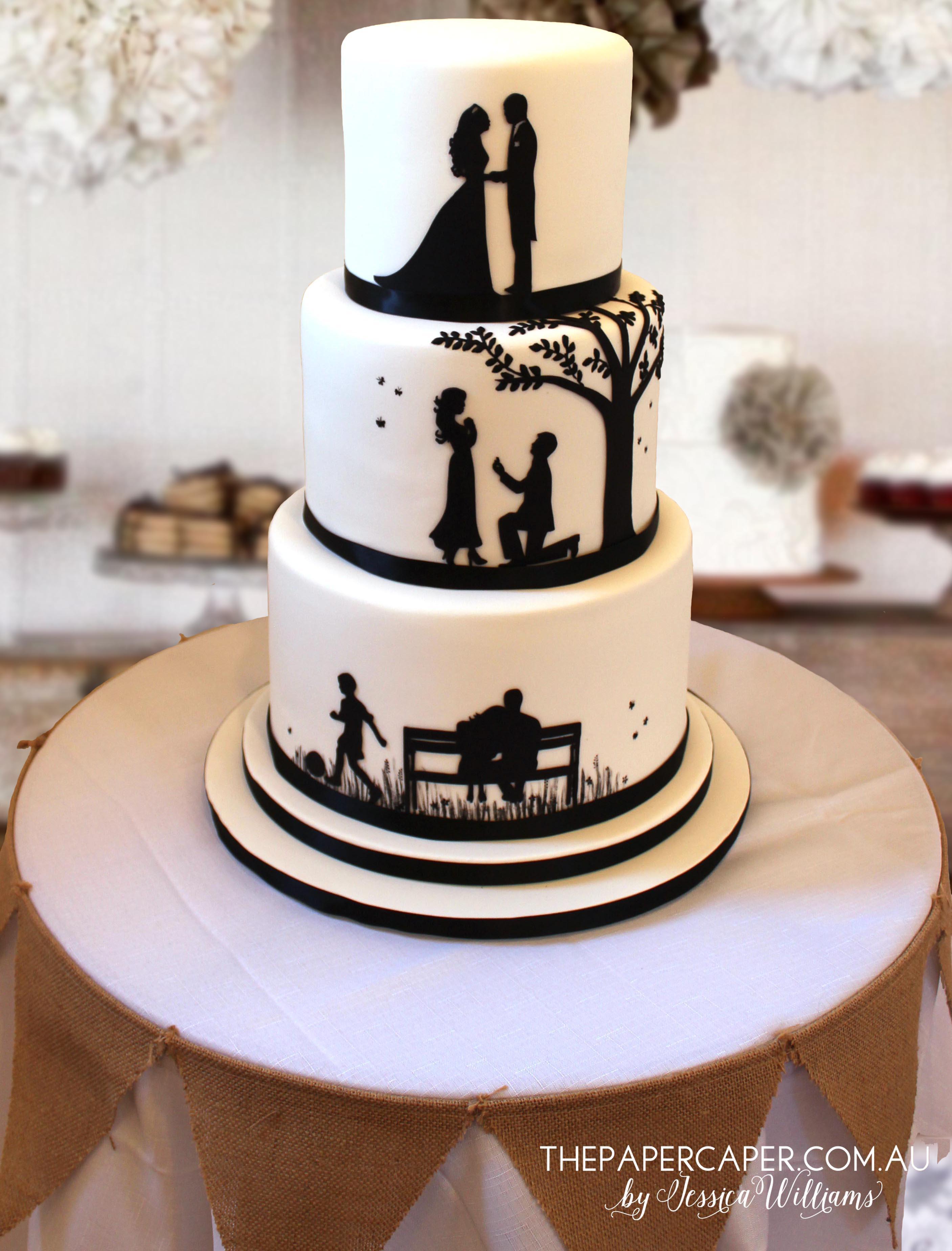 Wedding Cake Silhouette Stencils