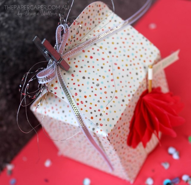 The Stamp Review Crew features Sprinkles of Life. Details @ www.thepapercaper.com.au Stampin' Up! Supplies: Baker's Box thinlits, Sprinkles of Life stamp set, Tree Builder Punch, Sweet L'il Things DSP, Cherry on Top Cotton Paper...