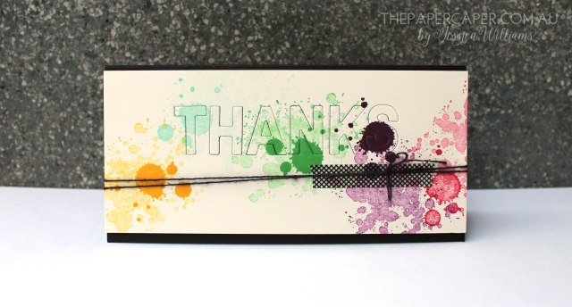 Gorgeous grunge splatter card for CASEing the Catty. Details @ www.thepapercaper.com.au
