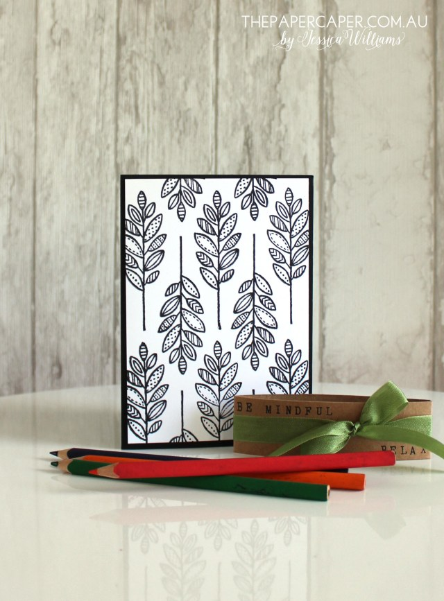 Adult colouring I Practising mindfulness with Stampin' Up! Lighthearted Leaves I Details @ www.thepapercaper.com.au by Jessica Williams