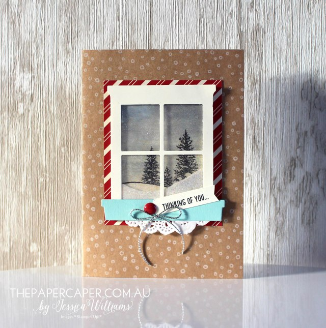 Thinking of you in Winter I Stampin' Up! Hapy Scenes, Hearth & Home window thinlits I CASEing the Catty I www.thepapercaper.com.au by Jessica Williams