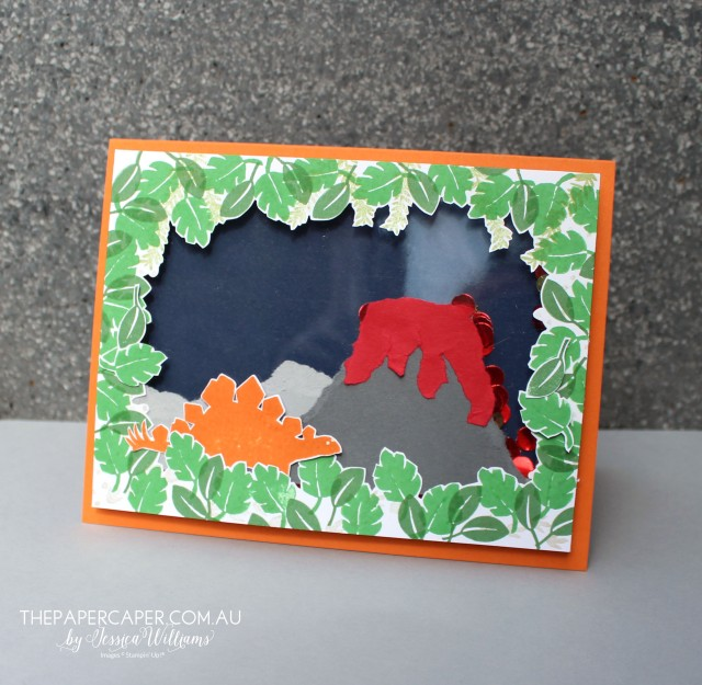 Stampin' Up!'s No Bones About It stamp set I The Stamp Review Crew blog hop I www.thepapercaper.com.au by Jessica Williams Dinosaurs & Volcanos. Oh My!