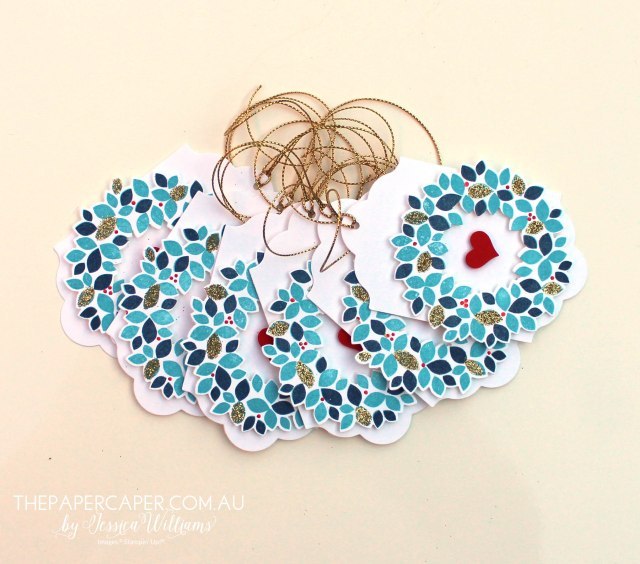 Wondrous Wreath gift tag I #GDP004 I Stampin' Up! I www.thepapercaper.com.au by Jessica Williams