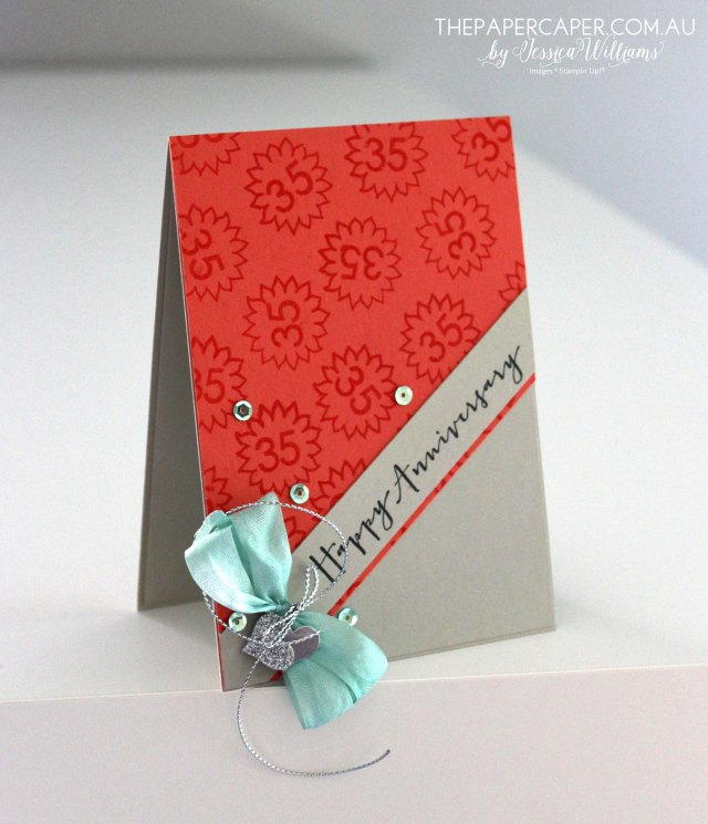 Wedding Anniversary card I Stampin' Up! Timeless Love I Coral Anniversary I Global Design Project #GDP006 I www.thepapercaper.com.au by Jessica Williams